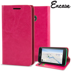 Encase Leather-Style Nokia Lumia 530 Wallet Case With Stand - Hot Pink