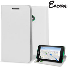 Encase Leather-Style Nokia Lumia 530 Wallet Case With Stand - White
