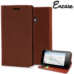 Encase Leather-Style Nokia Lumia 630 Wallet Case With Stand - Brown