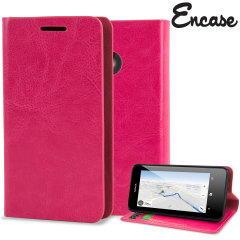Encase Leather-Style Nokia Lumia 630 Wallet Case With Stand - Hot Pink