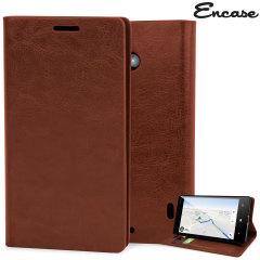 Encase Leather-Style Nokia Lumia 930 Wallet Stand Case - Light Brown