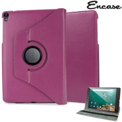Encase Leather-Style Rotating Google Nexus 9 Case - Purple