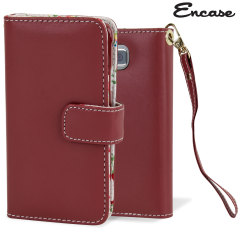 Encase Leather-Style Samsung Galaxy Alpha Wallet Case - Floral Red