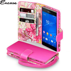 Encase Leather-Style Sony Xperia Z3 Wallet Case - Floral Pink