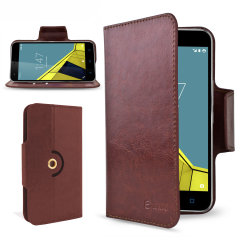 Encase Leather-Style Vodafone Smart Ultra 6 Wallet Case - Brown
