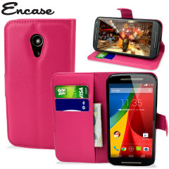 Encase Moto G 2nd Gen Leather-Style Wallet Case - Hot Pink
