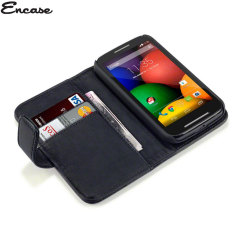 Encase Motorola Moto E Genuine Leather Wallet Case - Black