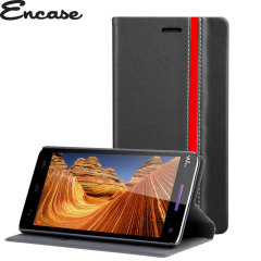 Encase Premium Wiko Rainbow Wallet Case - Black / Red