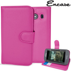 Encase Samsung Galaxy Ace 4 Leather Style Wallet Case - Hot Pink