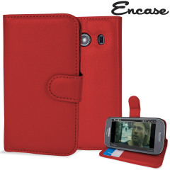 Encase Samsung Galaxy Ace 4 Leather Style Wallet Case - Red