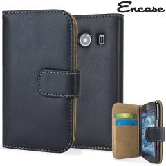 Encase Samsung Galaxy Ace 4 Premium Leather Style Wallet - Black