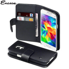 Encase Samsung Galaxy S5 Mini Genuine Leather Wallet Case - Black