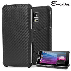 Encase Slimline Carbon Fibre-Style Galaxy S5 Horizontal Flip Case