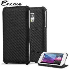 Encase Slimline Carbon Fibre-Style Galaxy S5 Mini Horizontal Flip Case