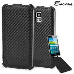 Encase Slimline Carbon Fibre-Style Galaxy S5 Vertical Flip Case