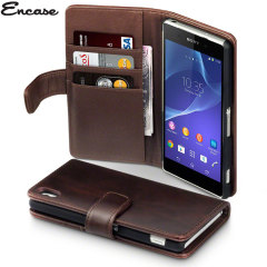 Encase Sony Xperia Z2 Genuine Leather Wallet Case - Brown