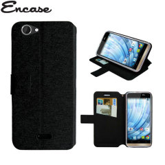 Encase Stand and Type Wiko Getaway Wallet Case - Black