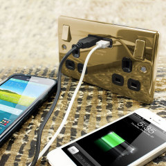 enCharge UK Power Socket with USB Charging Wall Plate - Brass