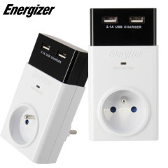 Energizer 2.1A Dual USB French Wall Charger With Surge Protection
