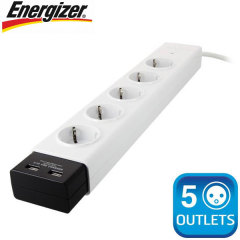 Energizer Surge Protected 5 EU Power Outlet Bar With 2 USB Ports