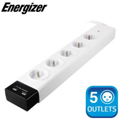 Energizer Surge Protected 5 French Power Outlet Bar with 2 USB ports