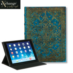 EXchange Azure iPad Air 2 Cover Case - Blue / Gold