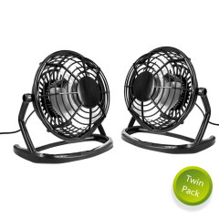 Executive Metal USB Mini Desk Fan - Twin Pack