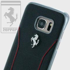 Ferrari 488 Genuine Leather Samsung Galaxy S7 Edge Hard Case - Black