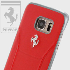 Ferrari 488 Genuine Leather Samsung Galaxy S7 Edge Hard Case - Red