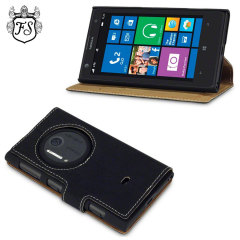 FlexiShield Leather-Style Nokia Lumia 1020 Wallet Case - Black