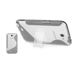 FlexiShield Wave Stand Case For Samsung Galaxy Note 2 - Clear / Grey
