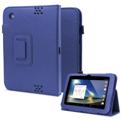 Folio Leather Style Stand Case and Hand Grip for Tesco Hudl - Blue
