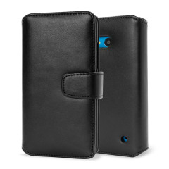 Genuine Leather Microsoft Lumia 640 Wallet Case - Black
