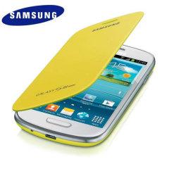 Genuine Samsung Galaxy S3 Mini Flip Cover - Yellow - EFC-1M7FYEGSTD
