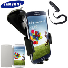 Genuine Samsung Galaxy S4 Case, Car Holder and Charger Pack - White