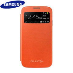 Genuine Samsung Galaxy S4 S-View Premium Cover Case - Orange