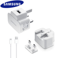 Genuine Samsung Galaxy UK Mains Charger with USB Cable - 2 Amp - White