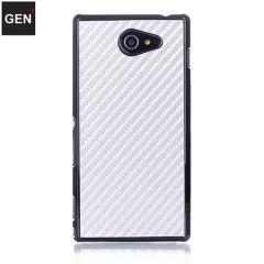 GENx Sony Xperia M2 Carbon Fibre Case - Silver