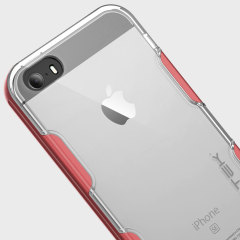 Ghostek Cloak iPhone SE Aluminium Tough Case - Clear / Red
