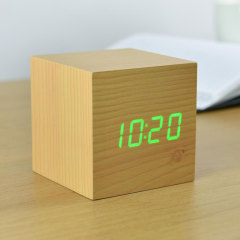 Gingko Cube Click Clock Noise-Activated Alarm Clock - Beech