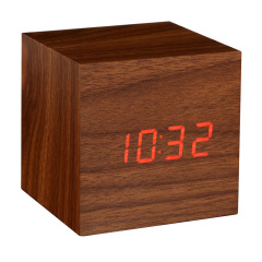 Gingko Cube Click Clock Noise-Activated Alarm Clock - Walnut