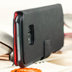 Guess Leather-Style Samsung Galaxy S7 Edge Wallet Case - Black