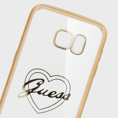 Guess Signature Heart Samsung Galaxy S7 Gel Case - Gold / Clear