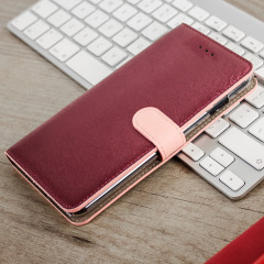 Hansmare Calf iPhone 7 Plus Wallet Case - Wine Pink