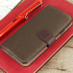 Hansmare Calf iPhone 7 Wallet Case - Golden Brown