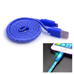 Happy Braided Light-up 1m Lightning Cable - Blue