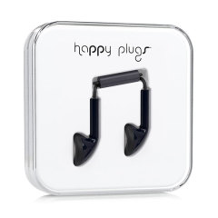 Happy Plugs EarBud Earphones with Hands-Free Microphone - Black