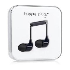 Happy Plugs In-Ear Earphones with Hands-Free Microphone - Black