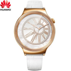 Huawei Elegant Watch for Android and iOS - White Leather Strap