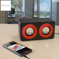 Intempo Mini Blaster Dual Speaker - Red and Black